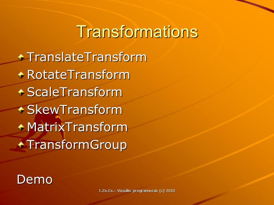 Transformations TranslateTransformRotateTransformScaleTransformSkewTransformMatrixTransformTransformGroupDemo