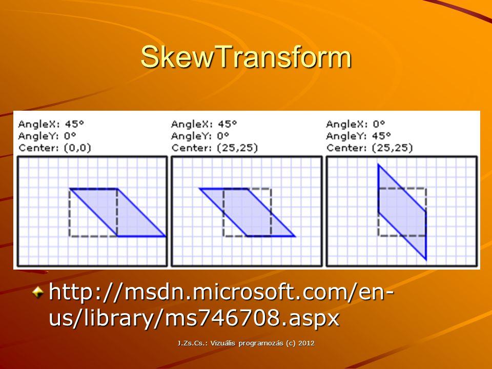 SkewTransform http://msdn.microsoft.com/en- us/library/ms746708.aspx J.Zs.Cs.: Vizuális programozás (c) 2012