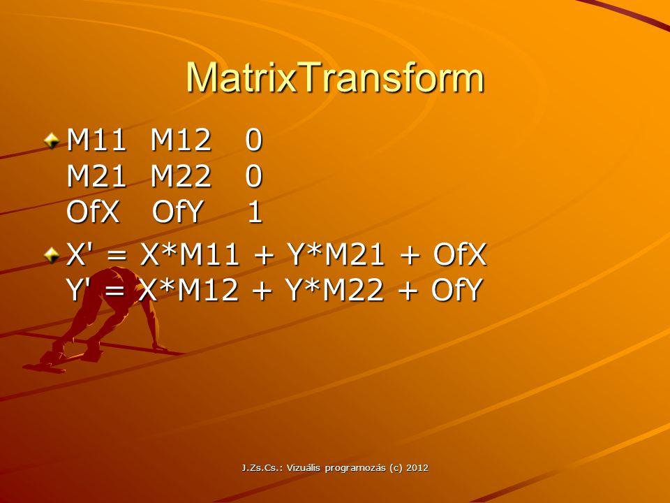 MatrixTransform M11 M12 0 M21 M22 0 OfX OfY 1 X' = X*M11 + Y*M21 + OfX Y' = X*M12 + Y*M22 + OfY J.Zs.Cs.: Vizuális programozás (c) 2012