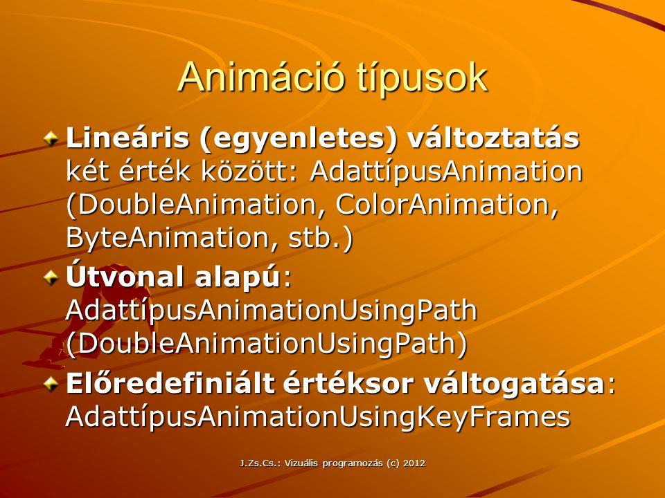 Animáció típusok Lineáris (egyenletes) változtatás két érték között: AdattípusAnimation (DoubleAnimation, ColorAnimation, ByteAnimation, stb.) Útvonal