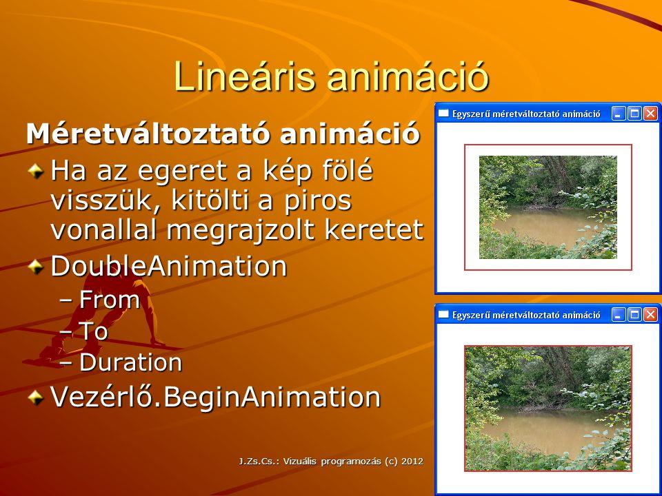 Lineáris animáció Méretváltoztató animáció Ha az egeret a kép fölé visszük, kitölti a piros vonallal megrajzolt keretet DoubleAnimation –From –To –Dur