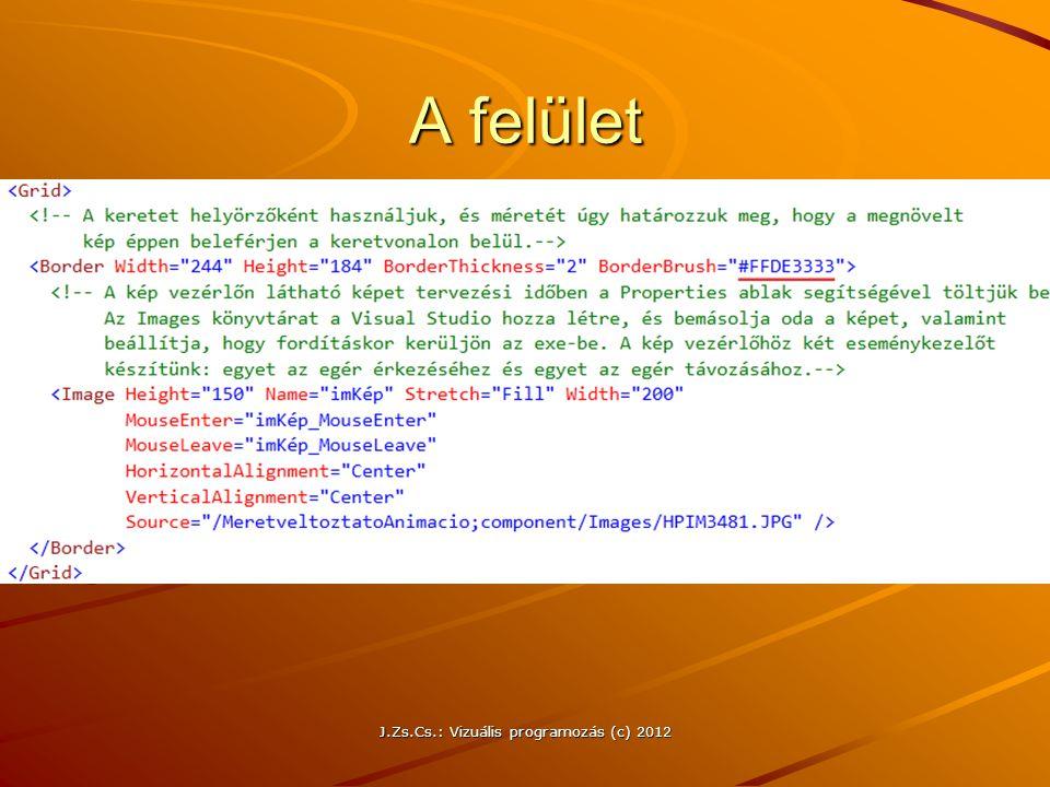 A felület J.Zs.Cs.: Vizuális programozás (c) 2012