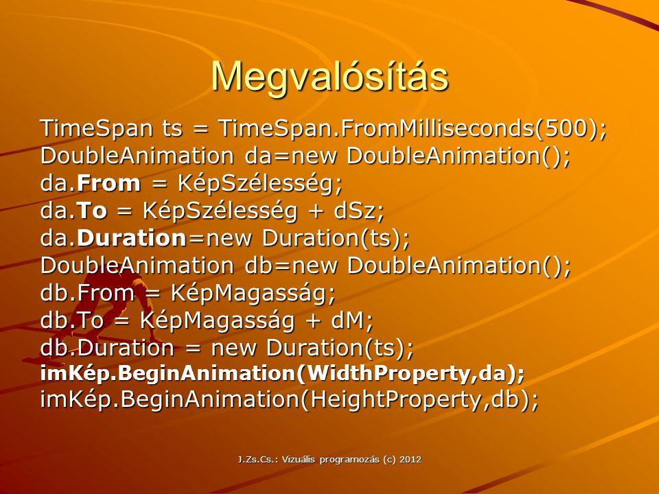 Megvalósítás TimeSpan ts = TimeSpan.FromMilliseconds(500); DoubleAnimation da=new DoubleAnimation(); da.From = KépSzélesség; da.To = KépSzélesség + dS