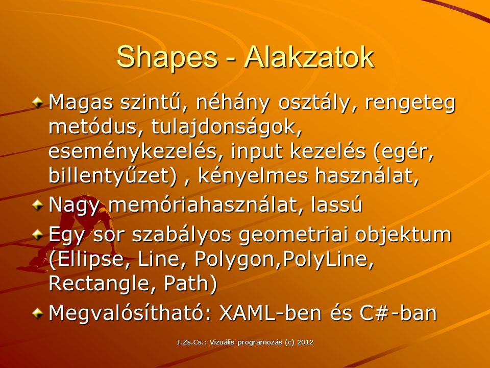 Shapes - Alakzatok Magas szintű, néhány osztály, rengeteg metódus, tulajdonságok, eseménykezelés, input kezelés (egér, billentyűzet), kényelmes haszná