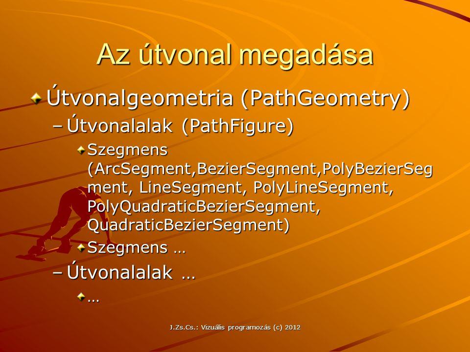 Az útvonal megadása Útvonalgeometria (PathGeometry) –Útvonalalak (PathFigure) Szegmens (ArcSegment,BezierSegment,PolyBezierSeg ment, LineSegment, Poly