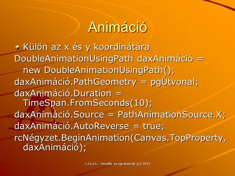 Animáció Külön az x és y koordinátára DoubleAnimationUsingPath daxAnimáció = new DoubleAnimationUsingPath(); daxAnimáció.PathGeometry = pgÚtvonal; dax