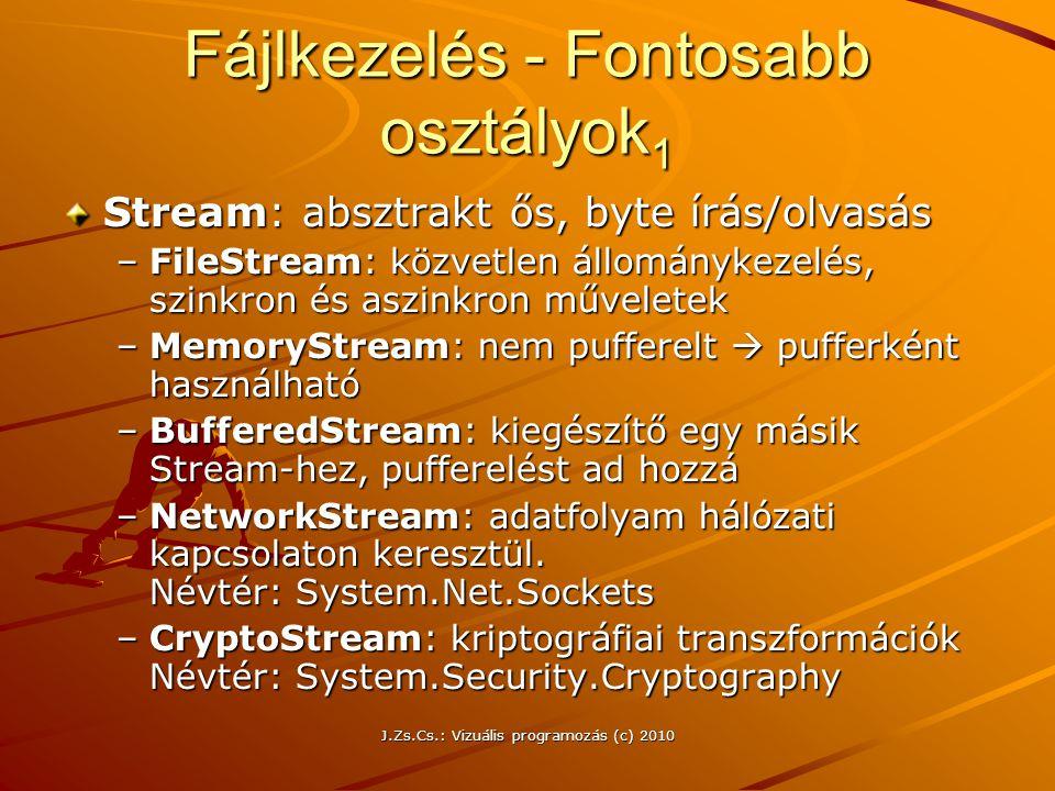 J.Zs.Cs.: Vizuális programozás (c) 2010 Fájlkezelés - Fontosabb osztályok 1 Stream: absztrakt ős, byte írás/olvasás –FileStream: közvetlen állománykezelés, szinkron és aszinkron műveletek –MemoryStream: nem pufferelt  pufferként használható –BufferedStream: kiegészítő egy másik Stream-hez, pufferelést ad hozzá –NetworkStream: adatfolyam hálózati kapcsolaton keresztül.
