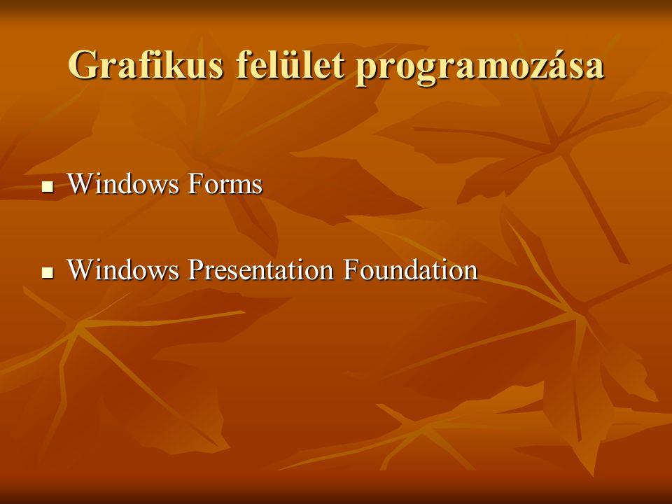 Grafikus felület programozása Windows Forms Windows Forms Windows Presentation Foundation Windows Presentation Foundation