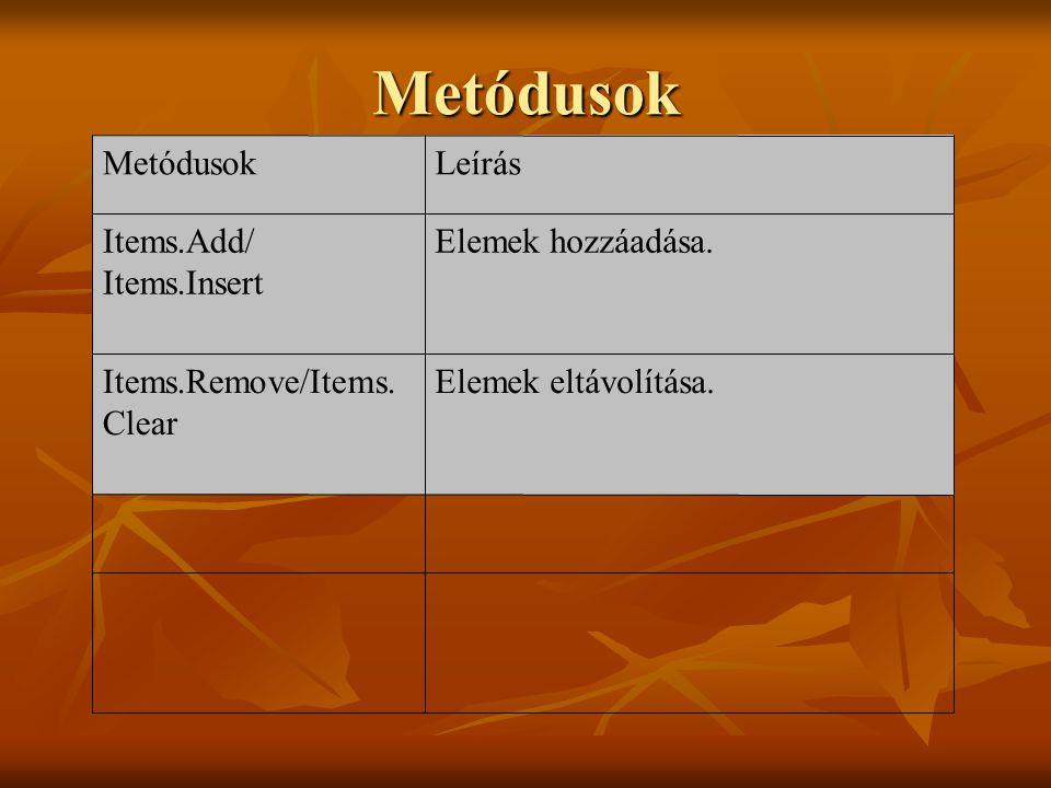 Metódusok Elemek eltávolítása.Items.Remove/Items. Clear Elemek hozzáadása.Items.Add/ Items.Insert LeírásMetódusok