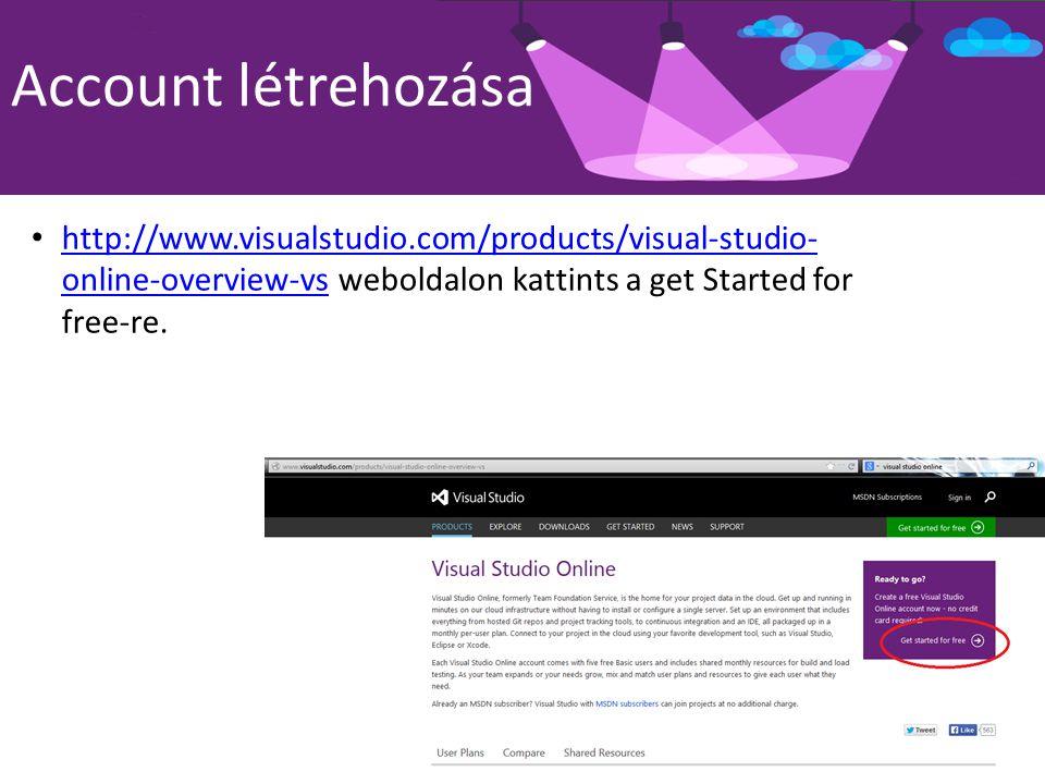 Account létrehozása Ha nincs microsoft accountod itt kreálhatsz Majd a VSO accountunk nevét adjuk meg, mely egyben az oldalunk címe is lesz