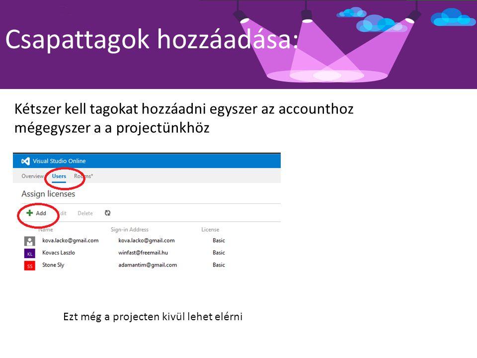 Csapattagok hozzáadása: Kétszer kell tagokat hozzáadni egyszer az accounthoz mégegyszer a a projectünkhöz Ezt még a projecten kivül lehet elérni
