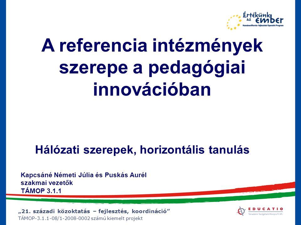 """""""21. századi közoktatás – fejlesztés, koordináció"""" TÁMOP-3.1.1-08/1-2008-0002 számú kiemelt projekt A referencia intézmények szerepe a pedagógiai inno"""