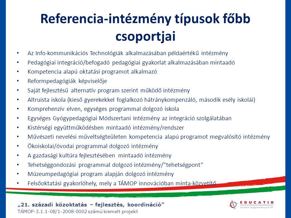 """""""21. századi közoktatás – fejlesztés, koordináció"""" TÁMOP-3.1.1-08/1-2008-0002 számú kiemelt projekt Referencia-intézmény típusok főbb csoportjai Az In"""