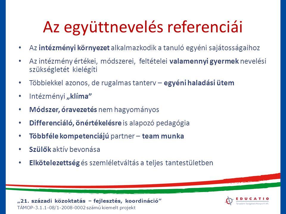 """""""21. századi közoktatás – fejlesztés, koordináció"""" TÁMOP-3.1.1-08/1-2008-0002 számú kiemelt projekt Az együttnevelés referenciái Az intézményi környez"""