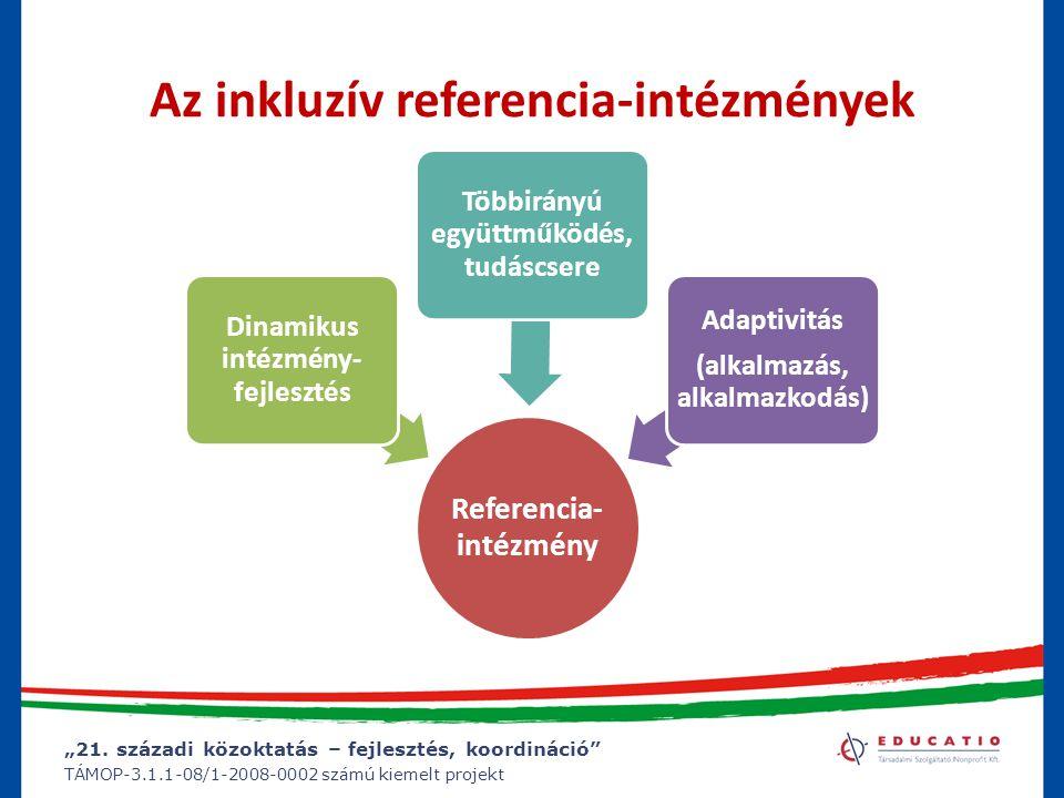 """""""21. századi közoktatás – fejlesztés, koordináció"""" TÁMOP-3.1.1-08/1-2008-0002 számú kiemelt projekt Az inkluzív referencia-intézmények Referencia- int"""