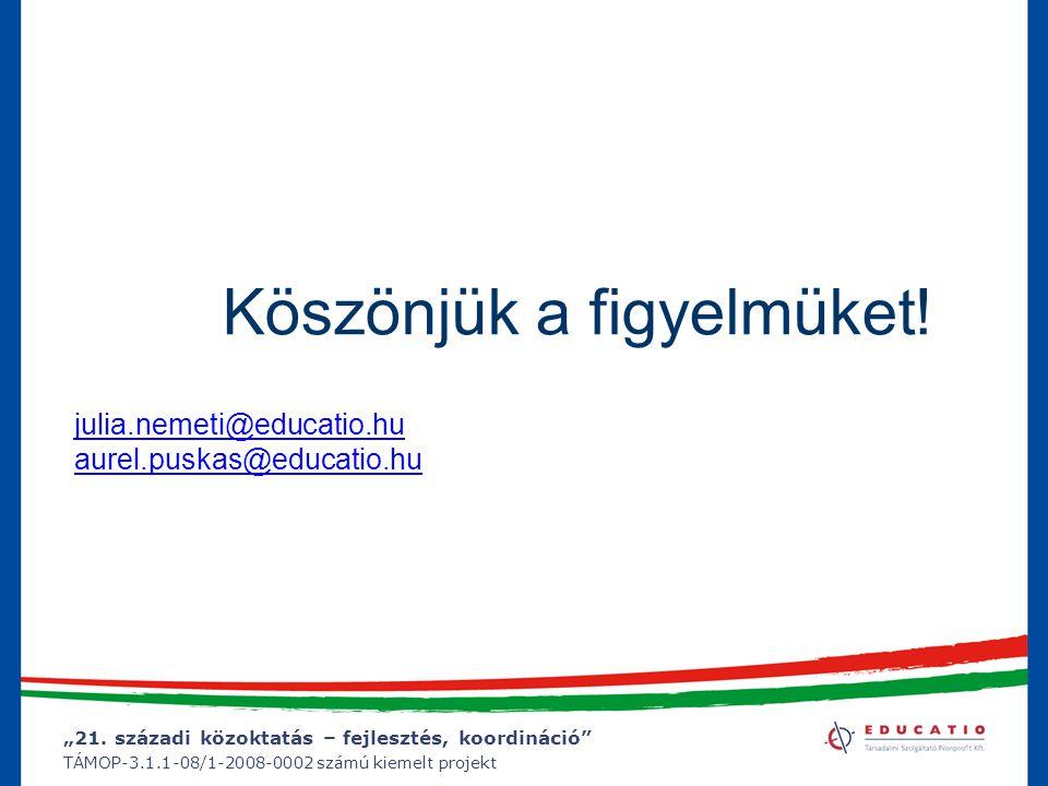 """""""21. századi közoktatás – fejlesztés, koordináció"""" TÁMOP-3.1.1-08/1-2008-0002 számú kiemelt projekt Köszönjük a figyelmüket! julia.nemeti@educatio.hu"""