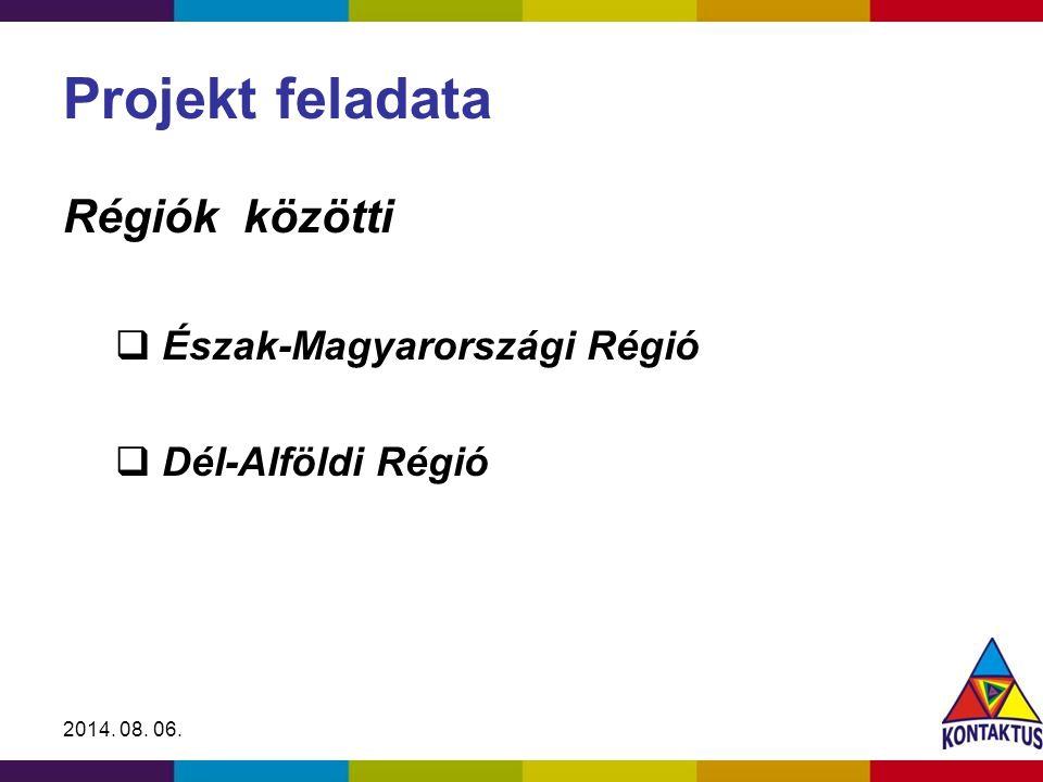 2014. 08. 06. Projekt feladata Régiók közötti  Észak-Magyarországi Régió  Dél-Alföldi Régió