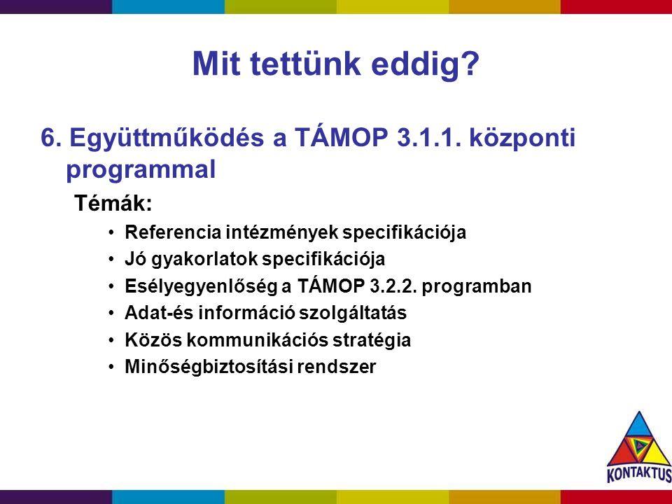 Mit tettünk eddig? 6. Együttműködés a TÁMOP 3.1.1. központi programmal Témák: Referencia intézmények specifikációja Jó gyakorlatok specifikációja Esél