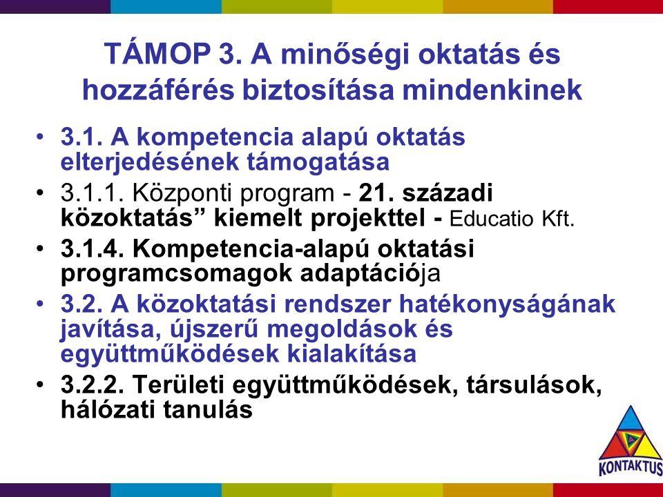 TÁMOP 3. A minőségi oktatás és hozzáférés biztosítása mindenkinek 3.1. A kompetencia alapú oktatás elterjedésének támogatása 3.1.1. Központi program -