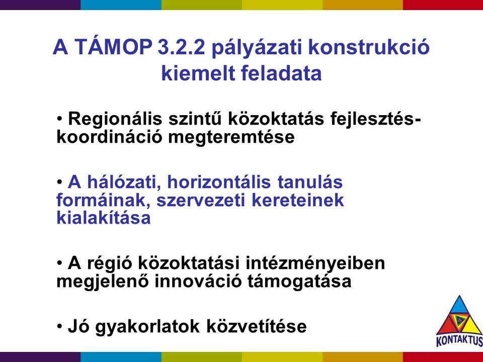 A TÁMOP 3.2.2 pályázati konstrukció kiemelt feladata Regionális szintű közoktatás fejlesztés- koordináció megteremtése A hálózati, horizontális tanulá