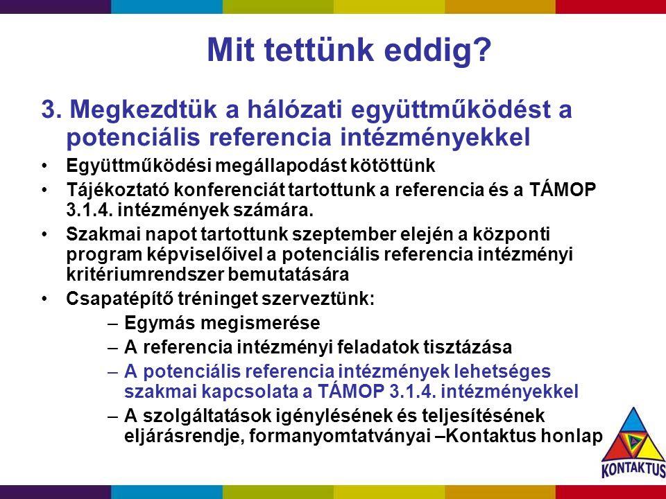 A referencia intézmények definíciója (Közös definíció a TÁMOP 3.1.1.