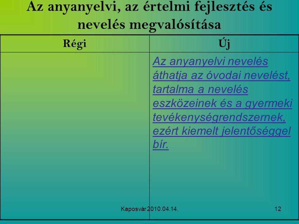 Kaposvár 2010.04.14.12 Az anyanyelvi, az értelmi fejlesztés és nevelés megvalósítása RégiÚj Az anyanyelvi nevelés áthatja az óvodai nevelést, tartalma