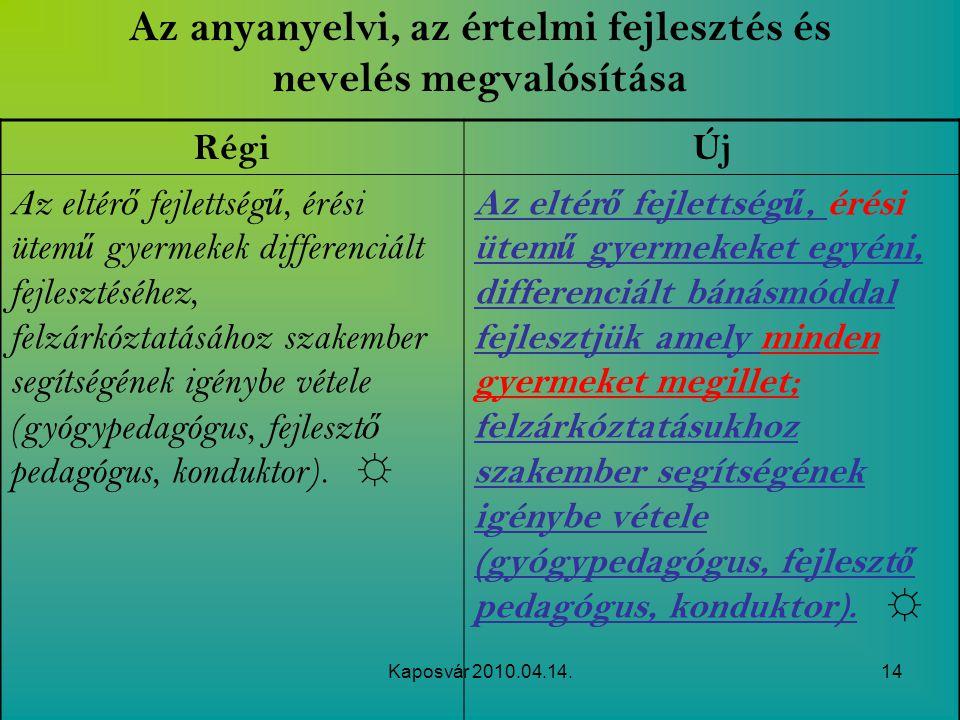 Kaposvár 2010.04.14.14 Az anyanyelvi, az értelmi fejlesztés és nevelés megvalósítása RégiÚj Az eltér ő fejlettség ű, érési ütem ű gyermekek differenci