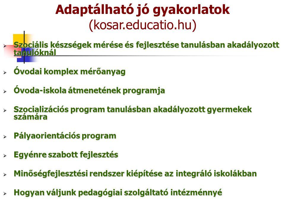  Szociális készségek mérése és fejlesztése tanulásban akadályozott tanulóknál  Óvodai komplex mérőanyag  Óvoda-iskola átmenetének programja  Szocializációs program tanulásban akadályozott gyermekek számára  Pályaorientációs program  Egyénre szabott fejlesztés  Minőségfejlesztési rendszer kiépítése az integráló iskolákban  Hogyan váljunk pedagógiai szolgáltató intézménnyé Adaptálható jó gyakorlatok (kosar.educatio.hu)