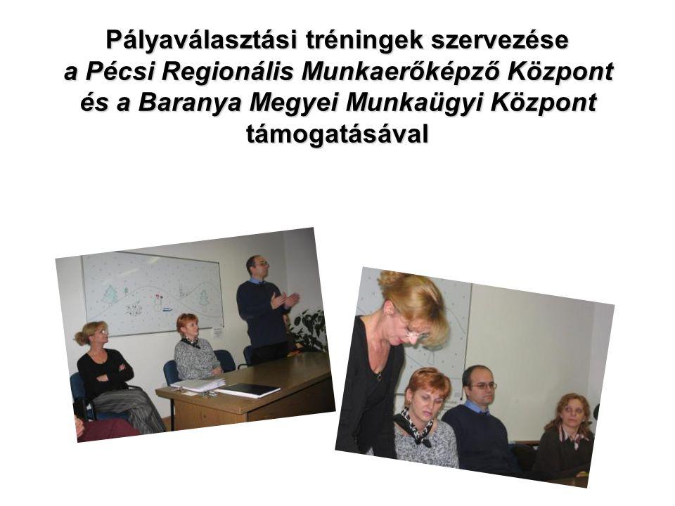 Pályaválasztási tréningek szervezése a Pécsi Regionális Munkaerőképző Központ és a Baranya Megyei Munkaügyi Központ támogatásával Pályaválasztási tréningek szervezése a Pécsi Regionális Munkaerőképző Központ és a Baranya Megyei Munkaügyi Központ támogatásával