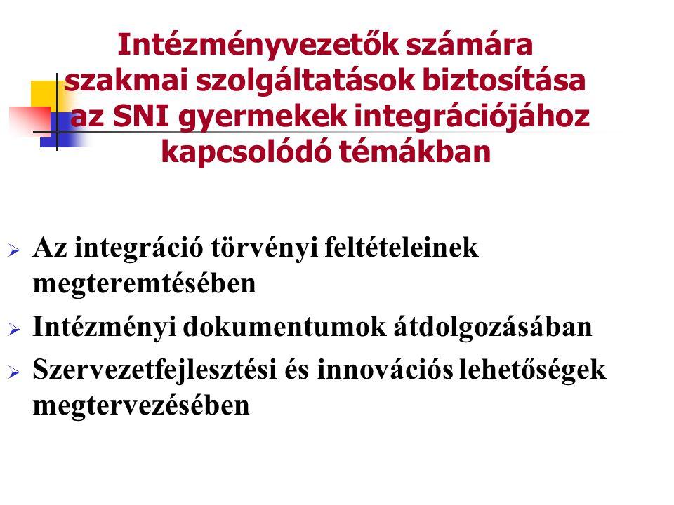 Intézményvezetők számára szakmai szolgáltatások biztosítása az SNI gyermekek integrációjához kapcsolódó témákban  Az integráció törvényi feltételeinek megteremtésében  Intézményi dokumentumok átdolgozásában  Szervezetfejlesztési és innovációs lehetőségek megtervezésében
