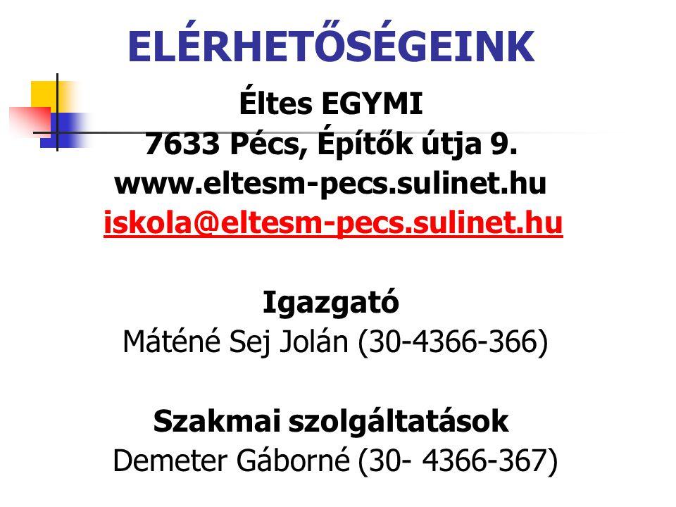 ELÉRHETŐSÉGEINK Éltes EGYMI 7633 Pécs, Építők útja 9.