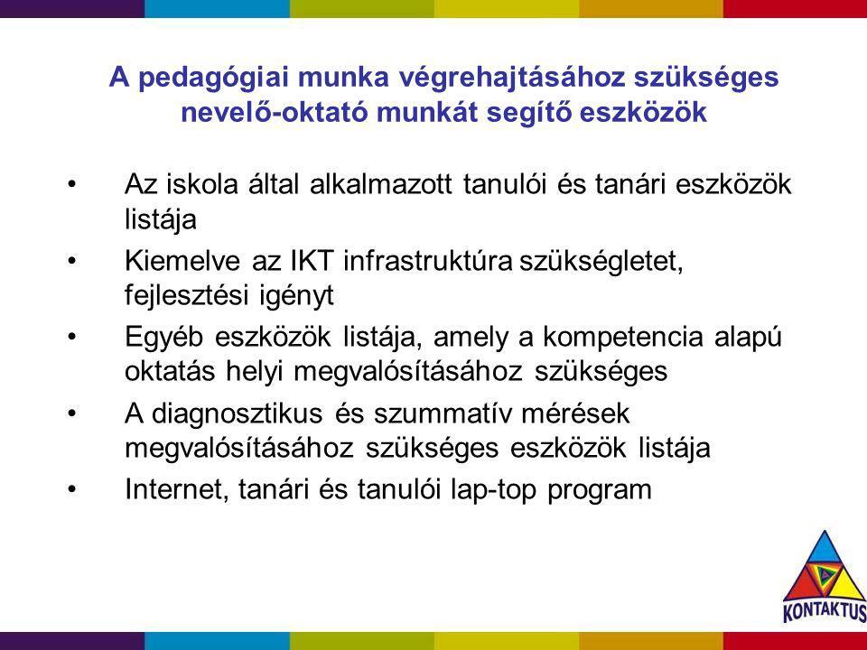 A pedagógiai munka végrehajtásához szükséges nevelő-oktató munkát segítő eszközök Az iskola által alkalmazott tanulói és tanári eszközök listája Kieme
