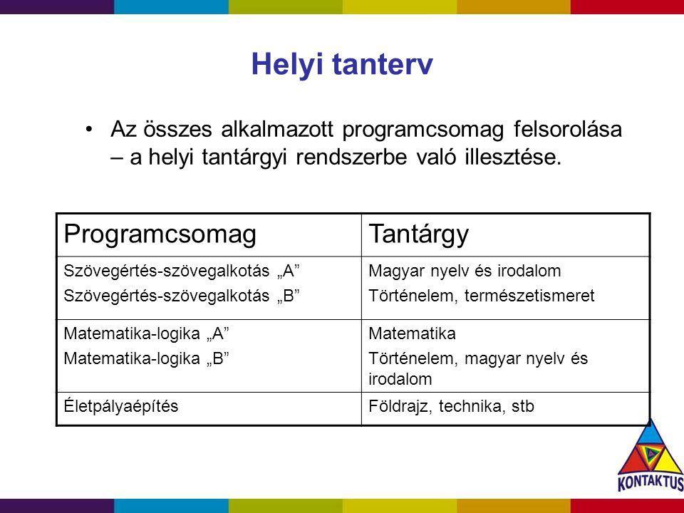 Helyi tanterv Az összes alkalmazott programcsomag felsorolása – a helyi tantárgyi rendszerbe való illesztése. ProgramcsomagTantárgy Szövegértés-szöveg