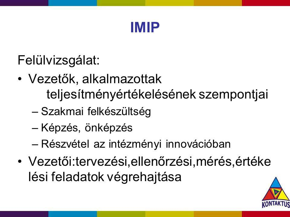 IMIP Felülvizsgálat: Vezetők, alkalmazottak teljesítményértékelésének szempontjai –Szakmai felkészültség –Képzés, önképzés –Részvétel az intézményi in