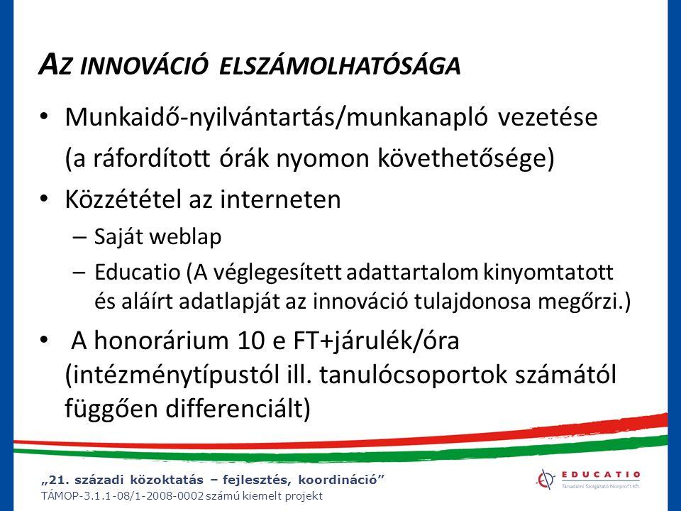 """""""21. századi közoktatás – fejlesztés, koordináció"""" TÁMOP-3.1.1-08/1-2008-0002 számú kiemelt projekt A Z INNOVÁCIÓ ELSZÁMOLHATÓSÁGA Munkaidő-nyilvántar"""