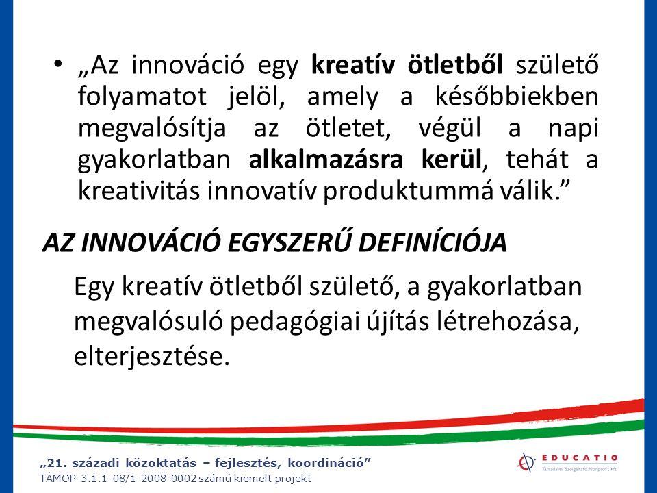 """""""21. századi közoktatás – fejlesztés, koordináció"""" TÁMOP-3.1.1-08/1-2008-0002 számú kiemelt projekt """"Az innováció egy kreatív ötletből születő folyama"""