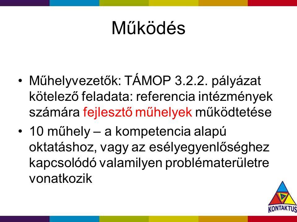 Működés Műhelyvezetők: TÁMOP 3.2.2.