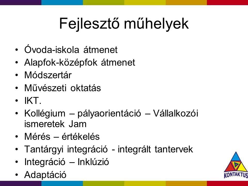 Fejlesztő műhelyek Óvoda-iskola átmenet Alapfok-középfok átmenet Módszertár Művészeti oktatás IKT.