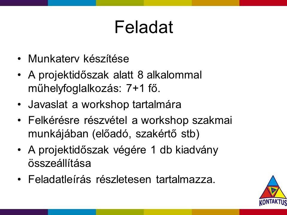 Feladat Munkaterv készítése A projektidőszak alatt 8 alkalommal műhelyfoglalkozás: 7+1 fő.