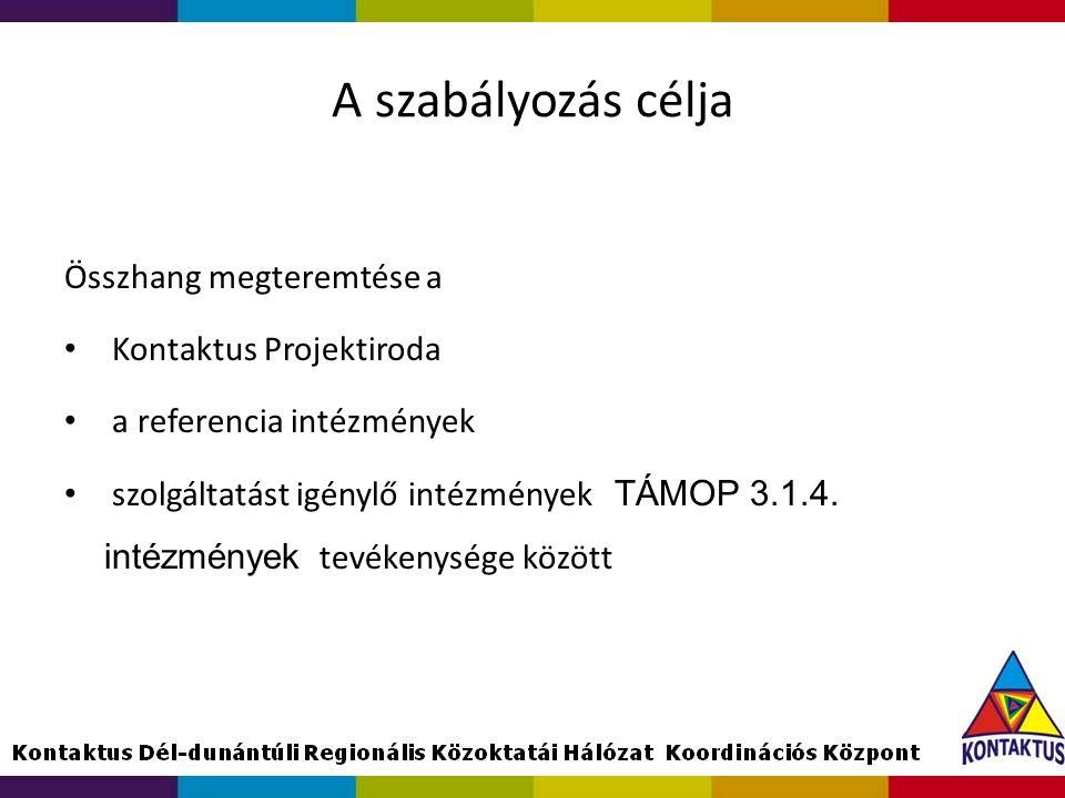 A szabályozás célja Összhang megteremtése a Kontaktus Projektiroda a referencia intézmények szolgáltatást igénylő intézmények TÁMOP 3.1.4. intézmények
