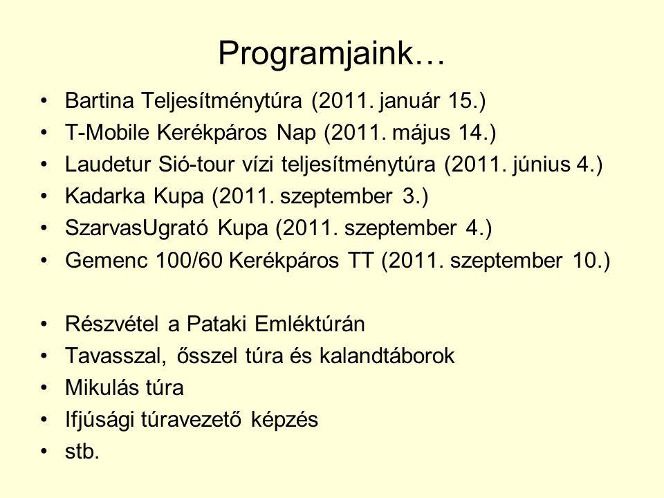 Programjaink… Bartina Teljesítménytúra (2011.január 15.) T-Mobile Kerékpáros Nap (2011.