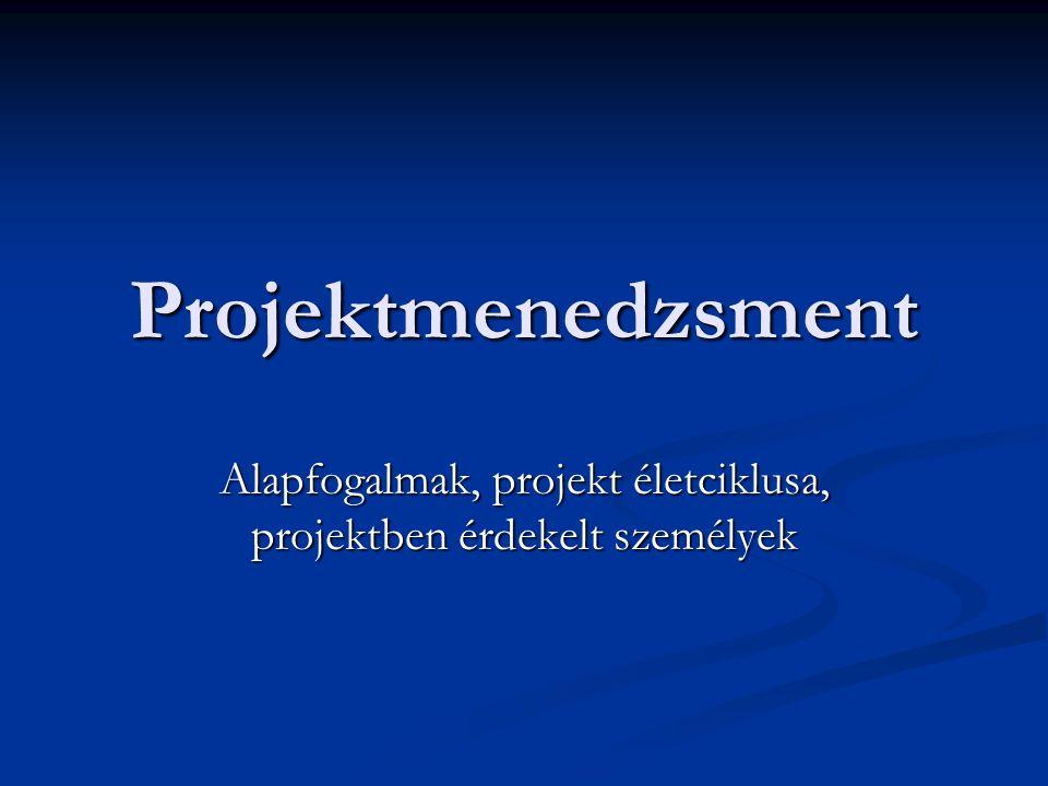 Projektmenedzsment Alapfogalmak, projekt életciklusa, projektben érdekelt személyek