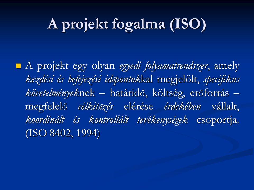 A projekt fogalma (ISO) A projekt egy olyan egyedi folyamatrendszer, amely kezdési és befejezési id ő pontokkal megjelölt, specifikus követelményeknek – határid ő, költség, er ő forrás – megfelel ő célkit ű zés elérése érdekében vállalt, koordinált és kontrollált tevékenységek csoportja.