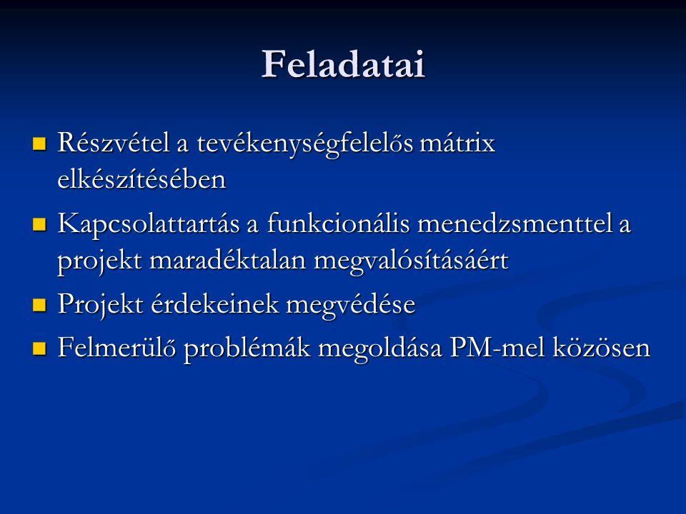 Feladatai Részvétel a tevékenységfelel ő s mátrix elkészítésében Részvétel a tevékenységfelel ő s mátrix elkészítésében Kapcsolattartás a funkcionális menedzsmenttel a projekt maradéktalan megvalósításáért Kapcsolattartás a funkcionális menedzsmenttel a projekt maradéktalan megvalósításáért Projekt érdekeinek megvédése Projekt érdekeinek megvédése Felmerül ő problémák megoldása PM-mel közösen Felmerül ő problémák megoldása PM-mel közösen