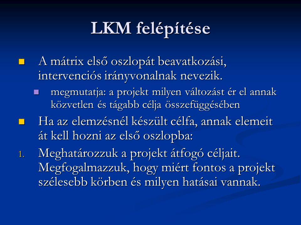 LKM felépítése A mátrix első oszlopát beavatkozási, intervenciós irányvonalnak nevezik. A mátrix első oszlopát beavatkozási, intervenciós irányvonalna