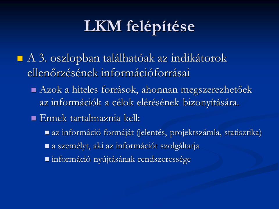 LKM felépítése A 3. oszlopban találhatóak az indikátorok ellenőrzésének információforrásai A 3. oszlopban találhatóak az indikátorok ellenőrzésének in
