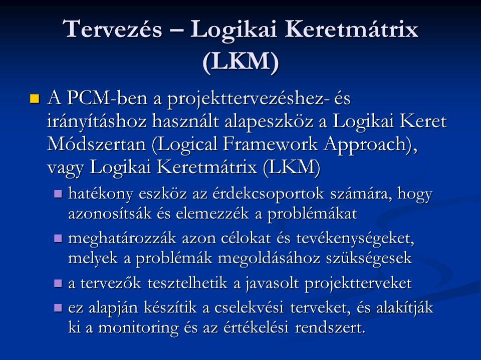 Tervezés –LKM (folyt.) Két szakaszból áll: Két szakaszból áll: Elemzési szakasz Elemzési szakasz Tervezési szakasz Tervezési szakasz a végrehajtás és az elemzés során is használható a végrehajtás és az elemzés során is használható alapja a projekttervezésnek és a monitoring rendszer kialakításához, és keretet ad az értékeléshez alapja a projekttervezésnek és a monitoring rendszer kialakításához, és keretet ad az értékeléshez a folyamat során elkészülő mátrix az LKM fő outputja a folyamat során elkészülő mátrix az LKM fő outputja segít a logikai összefüggések jobb áttekintésében segít a logikai összefüggések jobb áttekintésében a projekttervezés és -költségvetés struktúrájának és céljának meghatározásához kell használni, de nem szabad rugalmatlanul és akadályként kezelni a projekttervezés és -költségvetés struktúrájának és céljának meghatározásához kell használni, de nem szabad rugalmatlanul és akadályként kezelni