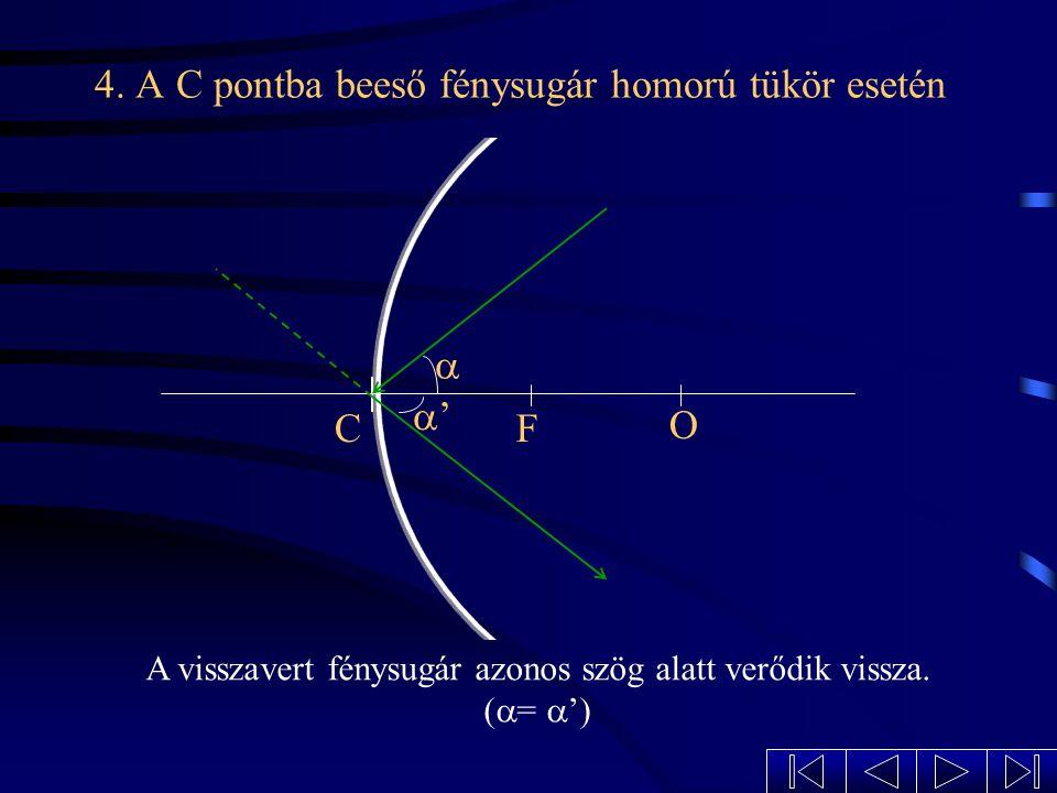 3. Az optikai középpont irányába beeső fénysugár homorú tükör esetén A visszavert fénysugár önmagába verődik vissza. CF O