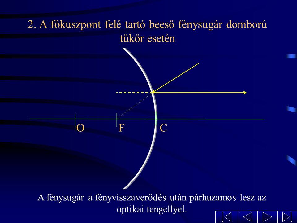 1. Az optikai tengellyel párhuzamosan beeső fénysugár domború tükör esetén OFC A visszavert fénysugár olyan, mintha a fókuszból indult volna ki.
