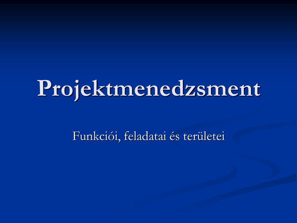 Projektmenedzsment funkciói és területei A projektmenedzsment a projektfeladatok elvégzésére létrejött teamek szervezésével és irányításával foglalkozik A projektmenedzsment a projektfeladatok elvégzésére létrejött teamek szervezésével és irányításával foglalkozik A kifejezést a projektet közvetlenül irányító munkacsoportra is használják A kifejezést a projektet közvetlenül irányító munkacsoportra is használják Tagjai általában: Tagjai általában: projektvezet ő projektvezet ő szakmai feladatok szakért ő i szakmai feladatok szakért ő i konzorciumi partnerek képvisel ő i konzorciumi partnerek képvisel ő i pénzügyi szakért ő pénzügyi szakért ő